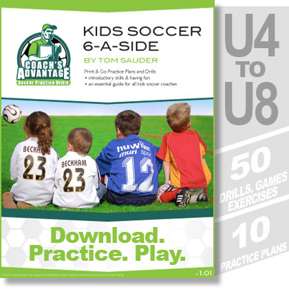 Kids Soccer 6-a-side cover. U4 to U8. 50 drills. 10 practice plans.