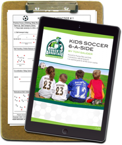 Clipboard with print and go soccer practice drill. Tablet with kids soccer drills