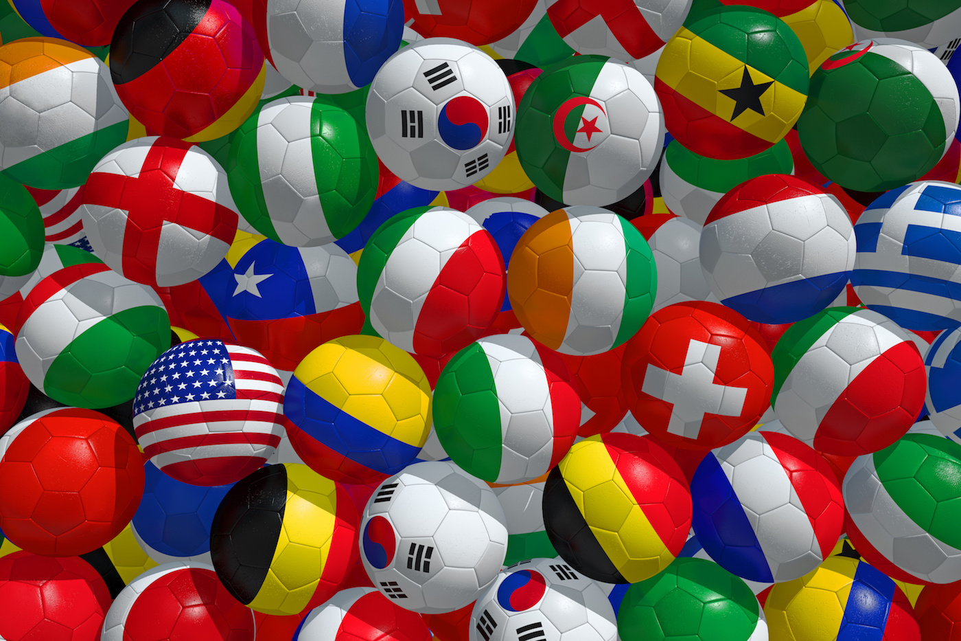 2014 FIFA World Cup Brazil. Soccer balls with flags of participating countries.