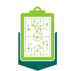 Icon of a clipboard showing a page with a soccer strategy.